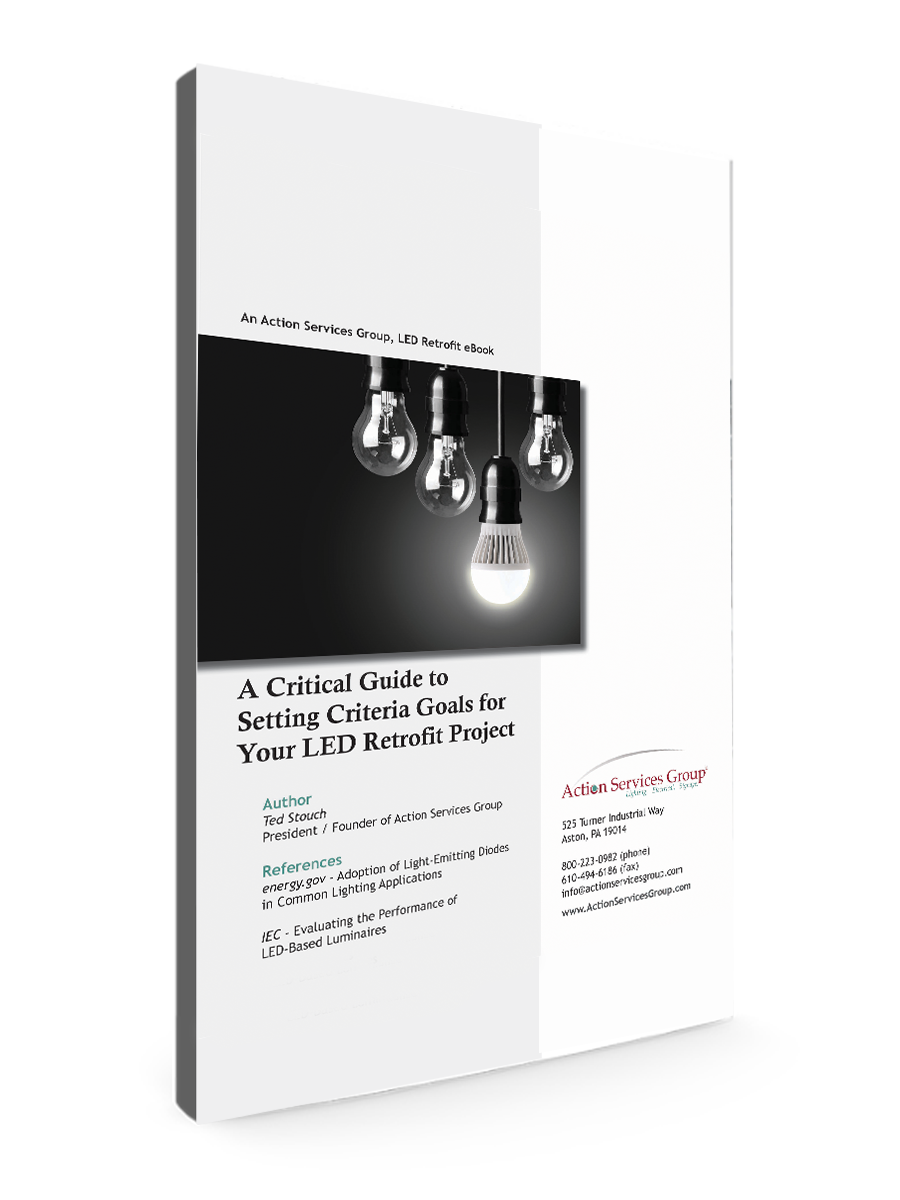 Standing eBook Cover - Action Services Group Critical Guide to Setting Criteria Goals for Your LED Retrofit Project