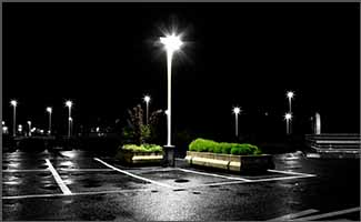 LED Parking lot light at night