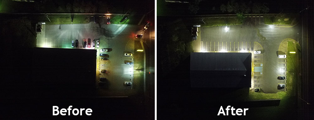 A before and after comparison of an LED Parking Lot Retrofit - In Blog Image - Action Services Group